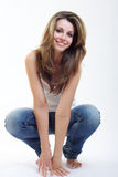Brunette woman smiling and posing Royalty Free Stock Photography