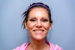 Brunette Woman Smiling Purple Headband Royalty Free Stock Photo