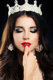 Brunette Woman with Smokey Eyes Makeup Royalty Free Stock Image