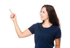 Brunette woman stare at the finger point Royalty Free Stock Photography