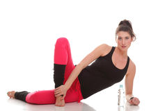 Brunette woman stretching muscles arms  Stock Photos