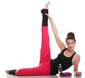 brunette woman stretching muscles arms  Stock Photography