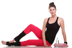 brunette woman stretching muscles arms isolated Royalty Free Stock Photo