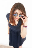 Brunette woman with stylish sunglasses Greece Royalty Free Stock Photography