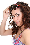 Brunette woman with sunglasses Stock Photos