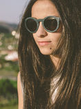 Brunette woman with sunglasses Royalty Free Stock Photos