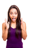 Brunette woman surprised Stock Images