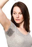 Woman sweating very badly under armpit Royalty Free Stock Photography