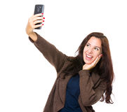 Brunette woman take selfie with cellphone Stock Photo