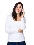 Brunette woman talk to phone Stock Photos