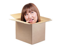 Brunette woman thinking out box isolated Stock Image