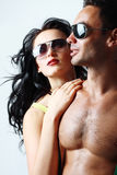 Brunette woman and topless man Royalty Free Stock Image