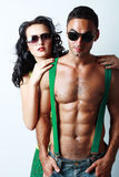 Brunette woman and topless man Stock Photography