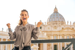 A brunette woman touring Vatican City Stock Photography