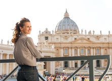 A brunette woman in Vatican City. Royalty Free Stock Photos