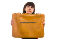 Brunette woman with vintage suitcase isolated Royalty Free Stock Photography