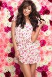 Brunette woman wear pastel flower stock images