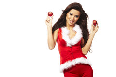 Brunette woman wearing sexy santa claus cl Stock Images
