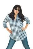 Brunette woman wearing sunglasses Stock Photography