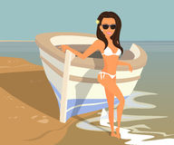 Brunette woman wearing white swimsuit is posing Royalty Free Stock Photography