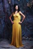Brunette woman wearing yellow evening dress Stock Photos