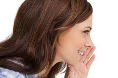 Brunette woman whispering a secret. On white background stock photography