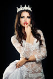 Brunette Woman in White Lingerie Stock Photos