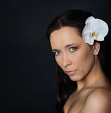 Brunette woman with white orchid on black Royalty Free Stock Photos