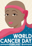 Brunette Woman who Beat the Cancer Celebrating this World Day, Vector Illustration. Poster with beautiful brunette woman in chemotherapy who is fighting against Stock Image