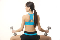 Brunette Woman Working Out Bench Barbells White Background Royalty Free Stock Images