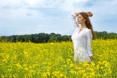 Brunette woman in a yellow flowers field Stock Image