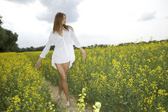 Brunette woman in a yellow flowers field Stock Photos