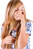 Brunette women enjoying and laughing Stock Image