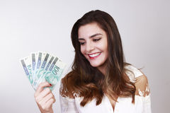 Brunette Women with money brazilian royalty free stock images