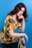 Brunette with yellow dress Royalty Free Stock Photo