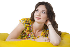 Brunette young woman looking up isolated Royalty Free Stock Photos