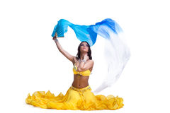 Brunette young woman performing arabic dance Royalty Free Stock Images
