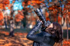 Brunette young woman photographer taking pictures Stock Photos