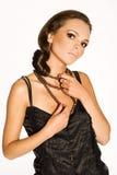 Brunette in zwarte Royalty-vrije Stock Afbeelding