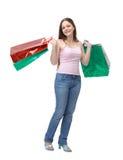 Brunetteeinkaufenmädchen Lizenzfreies Stockbild