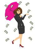 Brunettefrau, die großen purpurroten Regenschirm hält lizenzfreie abbildung