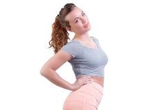 Brunettefrau mit natürlichen Kurven Stockbilder