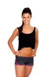 Brunettefrau mit Sportkleidung lizenzfreies stockfoto
