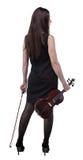 Brunettefrau mit Violine von der Rückseite Lizenzfreies Stockfoto