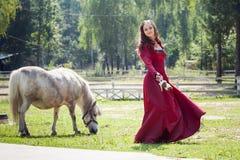 Brunettemädchen und -pferd Stockfoto