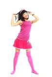 brunetten beklär rosa slitage för flicka Arkivfoton