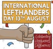 Brunetten lämnade Hander, det hållande tecknet för den internationella vänstra Handers dagen, vektorillustration vektor illustrationer
