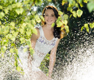 Brunettestanding behind water splash Stock Photography