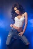 Brunettewoman curvy affascinante Fotografia Stock