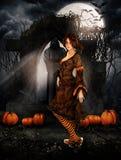 Brunettflicka i en kyrkogård på den halloween natten vektor illustrationer